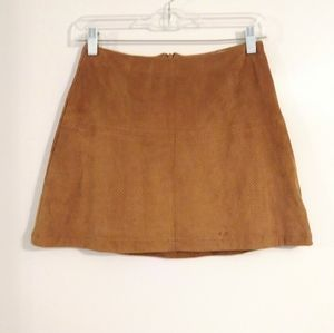 American Rag Tan Perforated Suede Mini Skirt